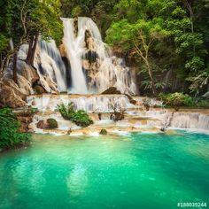 by MotHaiBaPhoto Prints , Beautiful Paintings, Beautiful Landscapes, Fabric Wall Art, Easy Install, Laos, Wall Murals, Canvas Wall Art, Waterfalls, Abstract