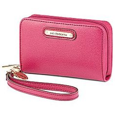 Liz Claiborne Phone Wallet  A trendy little cell phone wallet with side pockets is just the right size for all your essentials..  $12 blue pink black tan orange green black leather iPhone wristlet perfect to throw in a diaper bag keys cards