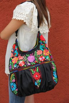 Black and multi colored hand embroidered Huipil boho bag by CasaOtomi: