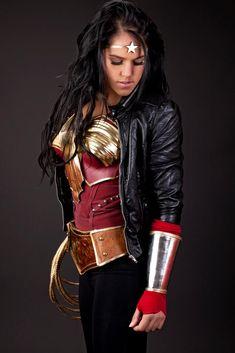 super legit awesome Wonder Woman cosplay - pants version.