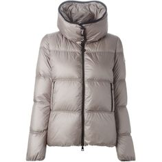 Moncler 'Bouges' padded jacket ($1,060) ❤ liked on Polyvore featuring outerwear, jackets, brown jacket, straight jacket, moncler jackets, long sleeve jacket and goose down jacket