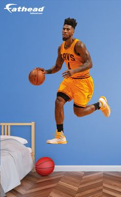 NBA Basketball | Are you having a hard time finding a poster of Iman Shumpert that is BIG enough? How about one that doesn't need tape, tacks or putty? SHOP http://www.fathead.com/nba/cleveland-cavaliers/iman-shumpert-gold-wall-decal/ | DIY Bedroom Decor for Boys + Girls | Custom Decals | Peel & Stick | Man Cave | Home Decor