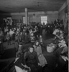 Ellis Island/This is when you had to have (either) a trade, a sponsor, or money.  Otherwise, you went back.