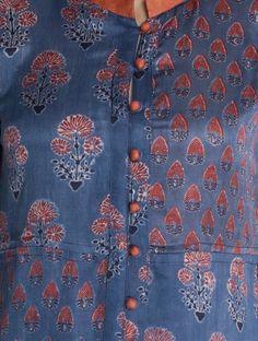 Indigo-Red Button Down Vegetable Printed Gajji Silk Kurta