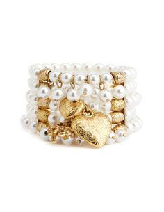 Stretch Pearl Charm Bracelet