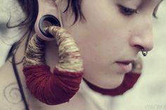 Red Earth - Organic Hemp earrings for stretched ears - Custom for Cherry. £60.00, via Etsy.