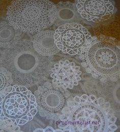 closeup of the layers in resin doily table top...