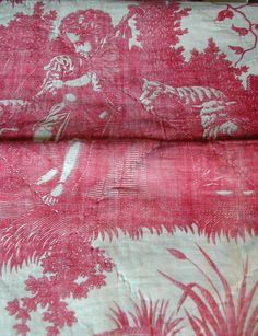 Red toile with sheep - antique linen coverlet