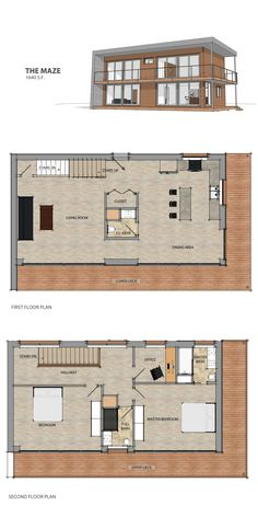 This efficient design over two floors features a single open living space on the first floor broken up only by a large chase containing a half bath and handy closet with the private living spaces housed on the second floor. Its unique shape wraps the shell of the building while leaving the optimal south facing facade open to the placement of large sliders. #moderndesign #floorplan