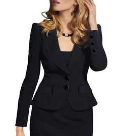 Chic Solid Color Long Sleeve Single Breasted Blazer For Women