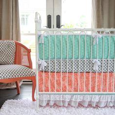 Caden Lane Crib Bedding Set Aqua and Coral