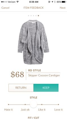 RD Style Skipper Cocoon Cardigan  I love chunky knit sweaters (as long as they aren't wool!)