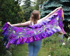 Nuno felted ruffle scarf long purple silk shawl with by filcAlki