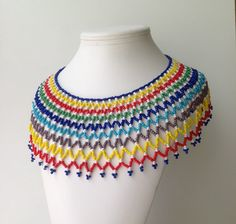Collar Necklace | Rainbow Seed Bead 1960s Collar Necklace by Vintagessentials