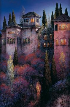 luis romero, luis romero resimleri, luis romero tabloları, luis romero kimdir, luis romero eserleri Spanish Painters, Spanish Artists, Landscape Paintings, Landscape Posters, Oil Paintings, La Alhambra, Malaga Spagna, Wildlife Art, Spray Painting