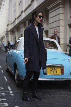 Hit the street in an oversized coat.