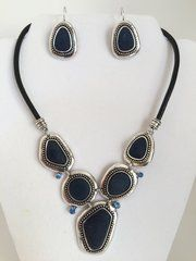 Pewter Style Chinese Glass Rhinestone Necklace and Earring Set | Terebella.com
