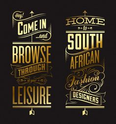 Typography inspiration... good mix of types and love the gold on black.