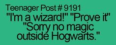 I am a real wizard by the way. I would prove it to you, but there's no magic outside of hogwarts