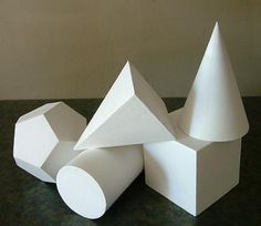 Plaster Casting- Set of Five Geometric Shapes Paint these with condensed milk, and they'll look incredible...