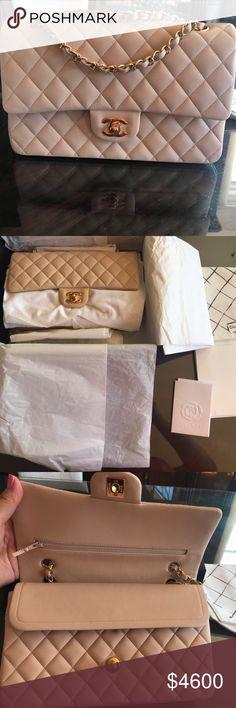 234ada9647ca Chanel Classic Double Flap M/L Beige Claire *NEW* Chanel Classic Double Flap