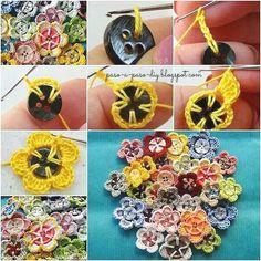 flores-con-botones-y-crochet.jpg (602×602)  http://www.pasoapasodiy.com/2015/09/como-tejer-flores-con-botones-y-crochet.html