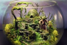 Diorama of Yoda on the swamp world of Dagobah.