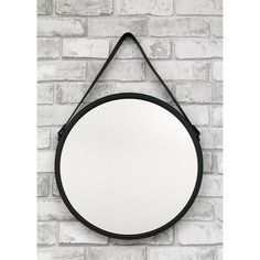 Wandspiegel Spiegel Schwarz rund mit Eco-Leder Gürtel zum aufhängen modern 50cm in Möbel & Wohnen, Dekoration, Spiegel | eBay