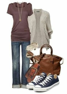 Cute and Casual outfit. Love the cuffed jeans and the chucks.  too bad they pinch my toes.