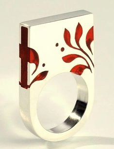 Silver and resin ring by Klára Abaffy. The Matyó collection incorporates the traditional Hungarian Matyó embroidery style.