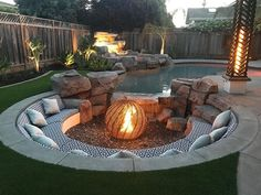 Likes, 125 Comments - JE Proscapes San Jose, Landscaping Along Fence, Backyard Landscaping, Sunken Fire Pits, Glass Fire Pit, Rustic Fire Pits, Fire Pit Area, Backyard Patio Designs, Outdoor Seating