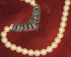 Avon Necklace Ivory Pearls Marcasite Pendant 1970 Vintage Art Nouveau Chevron Style. $25.00, via Etsy.