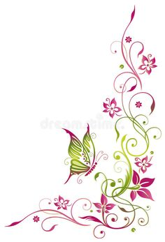 Illustration of Colorful flowers with butterfly, green and pink vector art, clipart and stock vectors. Black Flowers, Summer Flowers, Colorful Flowers, Skull Tattoo Flowers, Flower Tattoos, Art Floral, Images Lindas, Flower Art Drawing, Pink Photo