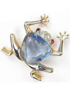 Mazer Gold Pave and Hexagon Cut Aquamarine Frog Pin