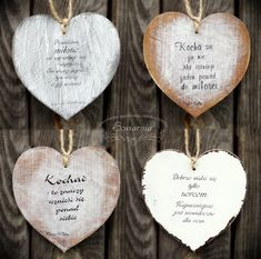 Hearts with love-related quotes, cut from plywood. Wooden Hearts, Plywood, Dog Tags, Dog Tag Necklace, Drop Earrings, Quotes, Mitosis, Hardwood Plywood, Quotations