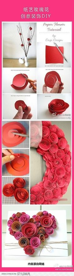 Paper heart for Valentine's Day . Paper heart for Valentine's Day Paper Flowers Diy, Handmade Flowers, Flower Crafts, Diy Paper, Fabric Flowers, Paper Crafting, Paper Art, Origami Flowers, Origami Rose