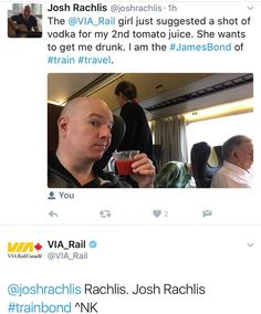 @viarailcanada replied with a tweet that has me shaken not stirred. Is the lovely girl who served me 2 tomato juices secretly running their Twitter page at the same time? She didn't mention it when she served me chocolate just now. But I suspect that like all Bond Girls she's hiding some secrets.  #ViaRail #JamesBond #TrainBond #travel #tourism #train #seduction  I am a: #DigitalNomad #TravelBlogger #LifestyleBlogger #filmcritic #entertainmentreporter #celebrityinterviewer #vlogger #YouTuber…