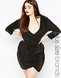 bde50ffbf011 Boohoo Plus Glitter Wrap Front Dress Curvy Girl Outfits, Curvy Girl  Fashion, Plus Size