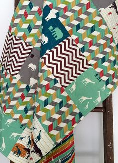 Baby Quilt Reversible Organic Gender Neutral by CoolSpool on Etsy