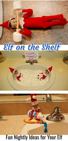 Elf on the Shelf / Fun Nightly Ideas for Your Elf #elfontheshelf #elfontheshelfideas #christmas #christmastime #kids