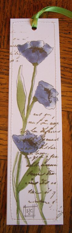 Watercolor Bookmark Blue Poppies
