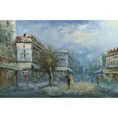 french street scene painter | ... Retro Signed Paris Parisian French Street Scene Painting: Image 4