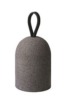 Natural stone doorstop with leather handle...nice.