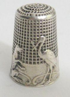 RARE Art Nouveau Sterling Silver Thimble Les Fables de La Fontaine Hallmarked   eBay / US $435.00