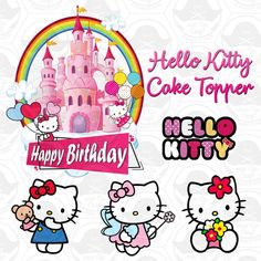 Hello Kitty Cake Topper Digital Template   Etsy Hello Kitty Birthday Cake, Hello Kitty Cupcakes, Hello Kitty Cake Design, Hello Kitty Themes, Hello Kitty Images, Hello Kitty Clipart, Mickey Mouse Parties, Mickey Mouse Birthday, Kue Hello Kitty