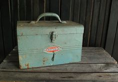 Vintage blue Craftsman metal tool box, rusty, shabby, industrial decor, garden decor, planter