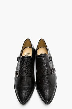 TOGA PULLA Black Leather Croc-embossed monk strap Flats