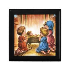 Vintage Nativity Scene Jewelry Box. Choose your favorite box color and wood before buying.