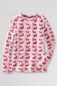 Girls' long sleeve horse pattern gathered shoulder tee. Shop more back to school styles at Lands' End