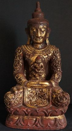 Burmese Wood buddha statue with heavy thayo lacquer decoration and gild